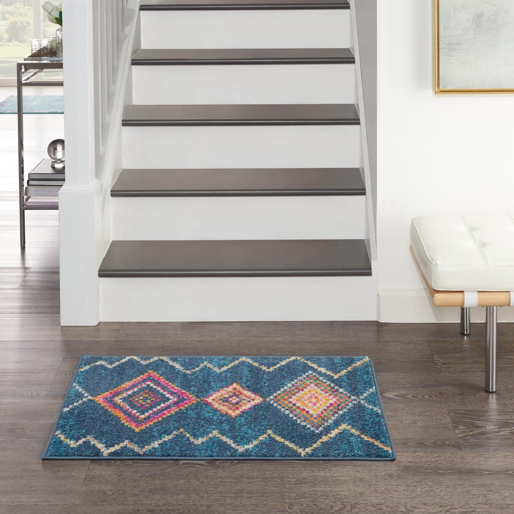 2' x 3' Navy Blue Berber Pattern Scatter Rug - 385775. Picture 4