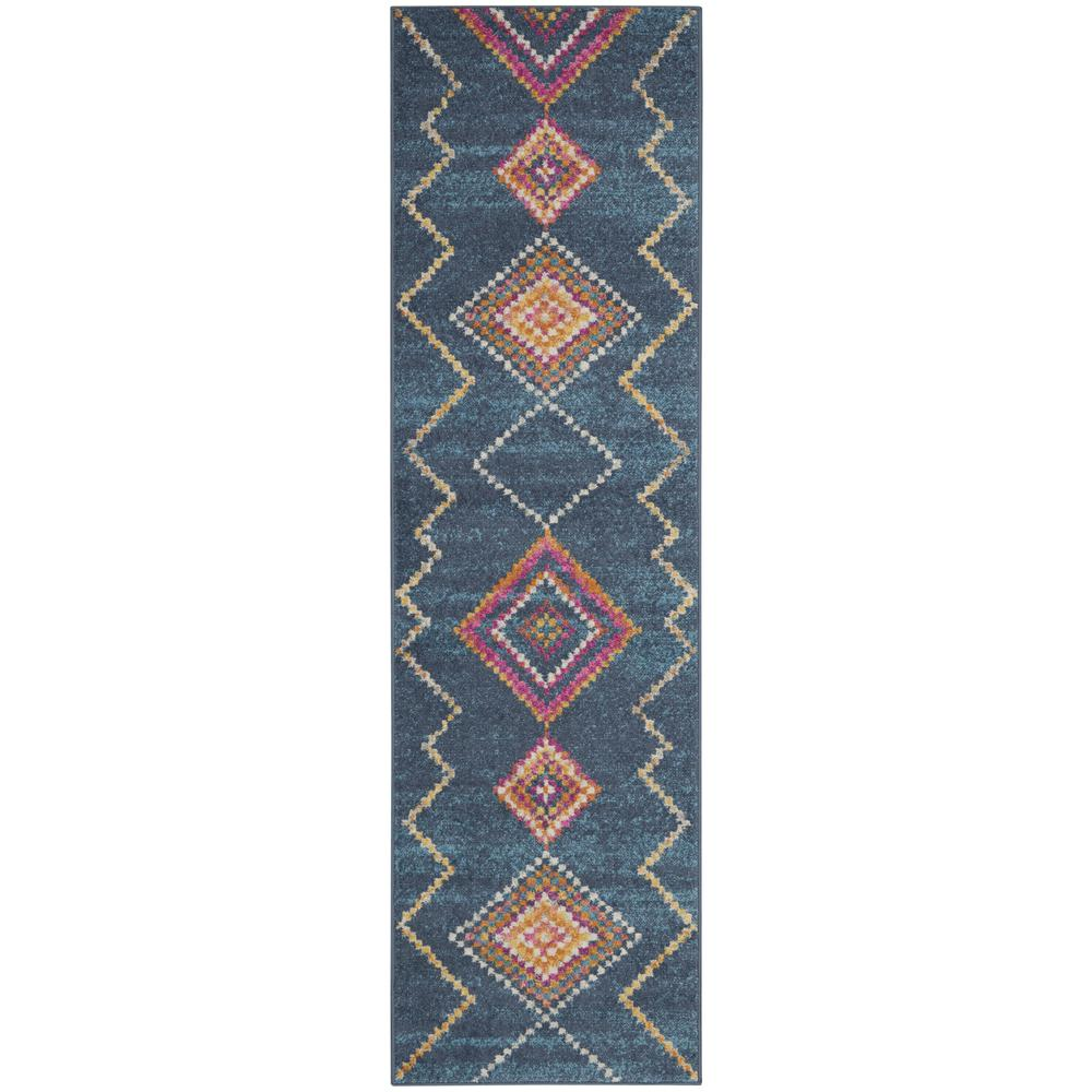 2' x 8' Navy Blue Berber Pattern Runner Rug - 385776. Picture 1