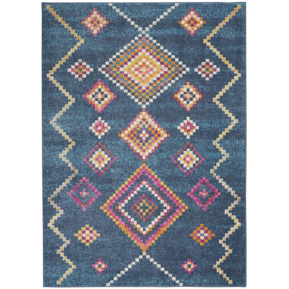 5' x 7' Navy Blue Berber Pattern Area Rug - 385778. Picture 1