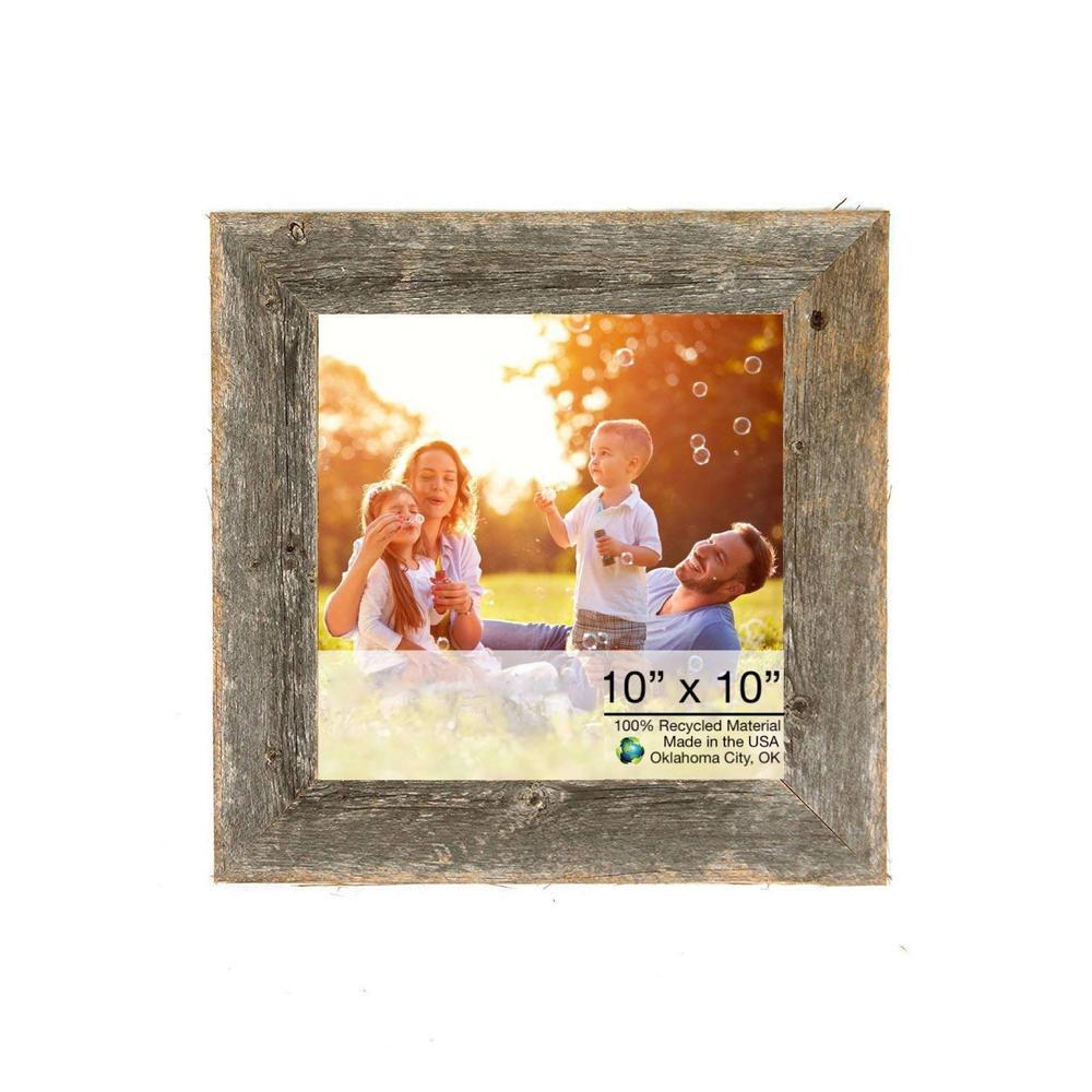 """10"""" x 10"""" Rustic Farmhouse Gray Wood Frame - 386493. Picture 1"""