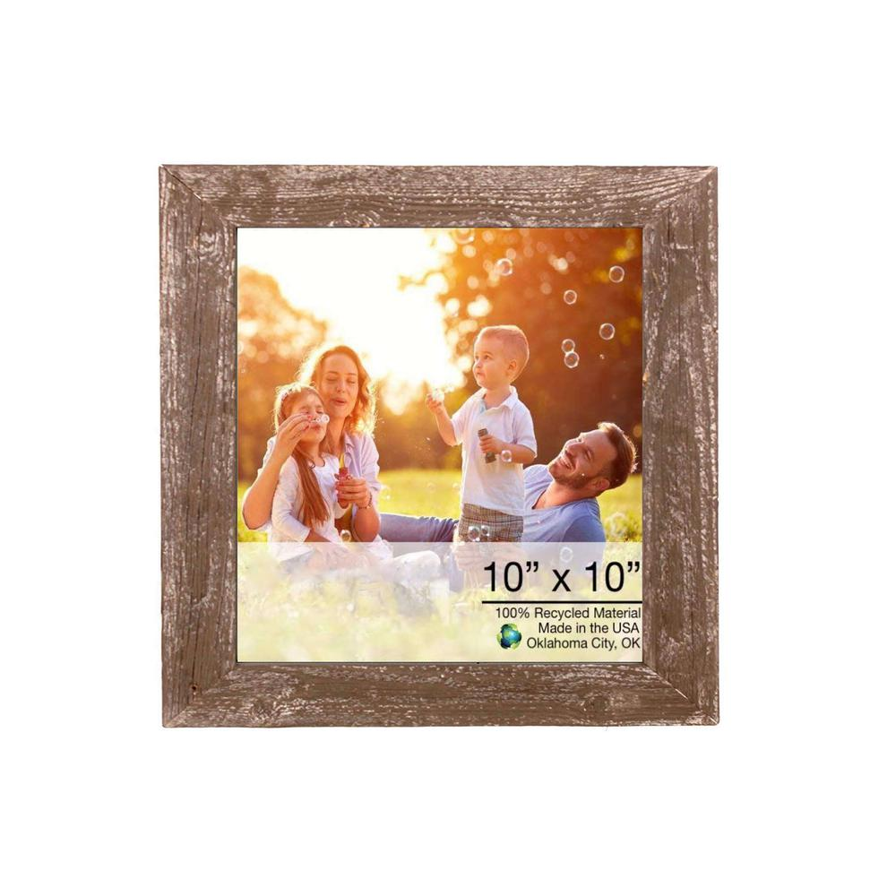 """10"""" x 10""""  Rustic Farmhouse Brown Wood Frame - 386494. Picture 1"""