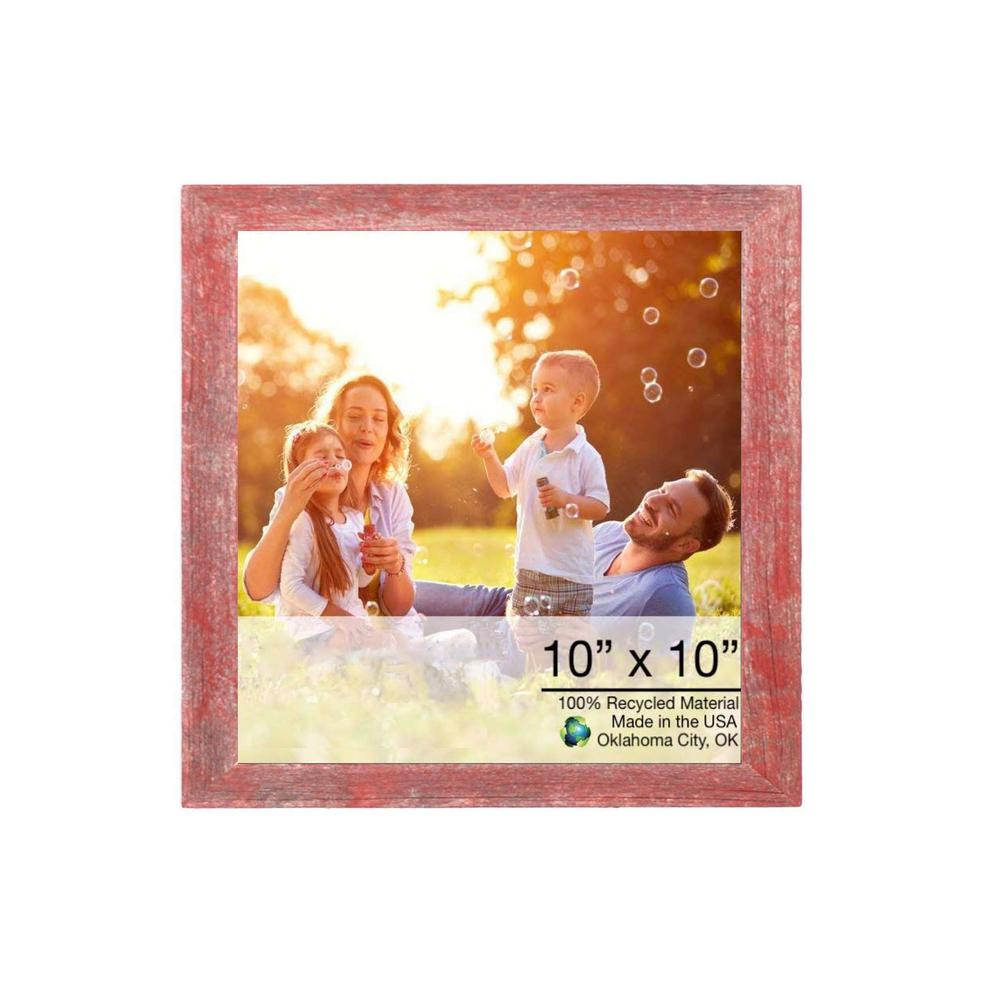 """10"""" x 10""""  Rustic Farmhouse Red Wood Frame - 386495. Picture 1"""