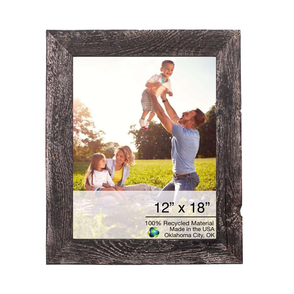 """12"""" x 18""""  Rustic Farmhouse Rustic Black Wood Frame - 386506. Picture 1"""