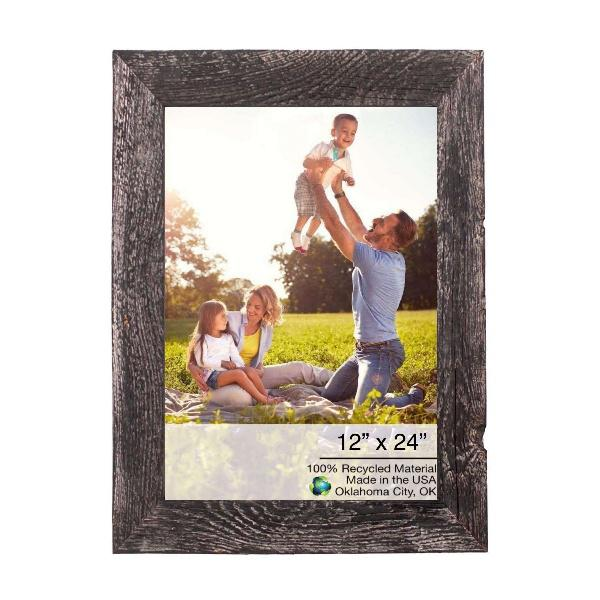 """12"""" x 24"""" Rustic Farmhouse Rustic Black Wood Frame - 386509. Picture 1"""