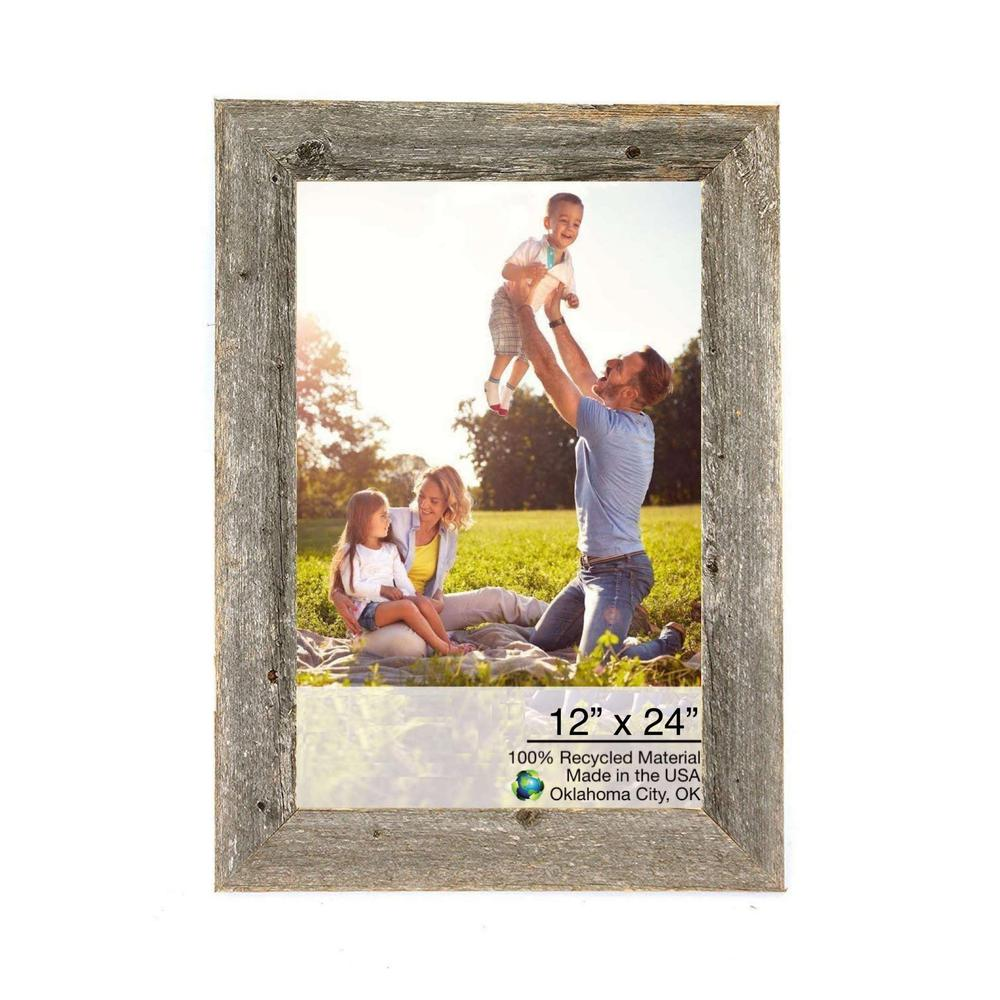 """12"""" x 24"""" Rustic Farmhouse Gray Wood Frame - 386512. Picture 1"""