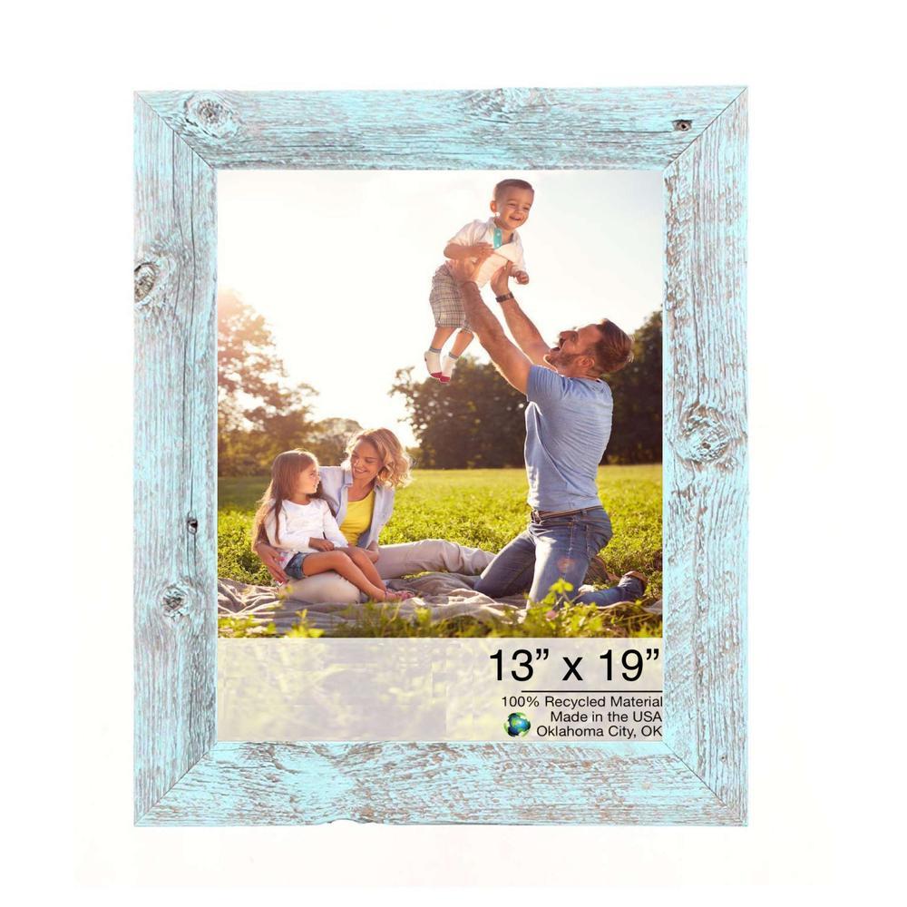 "13"" x 19"" Rustic Farmhouse Light Aqua Blue Wood Frame - 386513. Picture 1"
