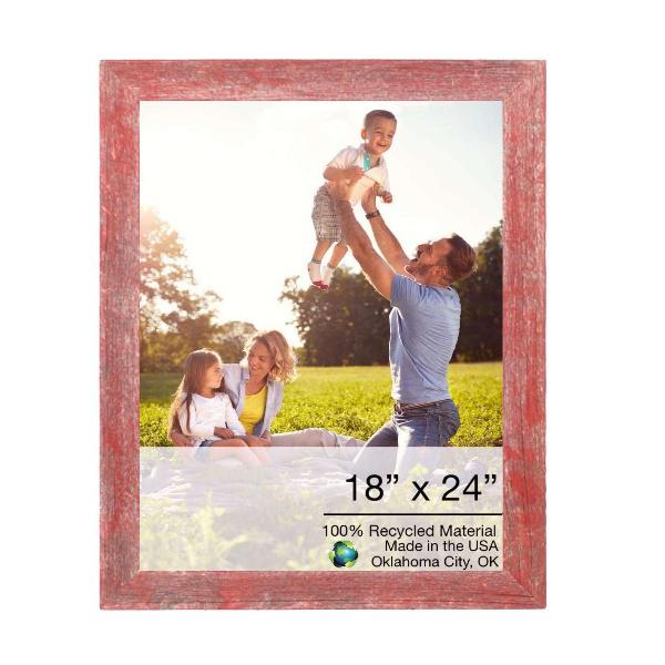 """18"""" x 24"""" Rustic Farmhouse Red Wood Frame - 386524. Picture 1"""