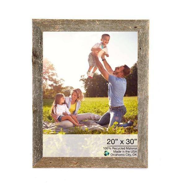 """20"""" x 30"""" Rustic Farmhouse Weathered Gray Wood Frame - 386537. Picture 1"""