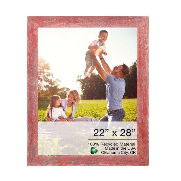 """22"""" x 28"""" Rustic Farmhouse Red Wood Frame - 386546. Picture 1"""