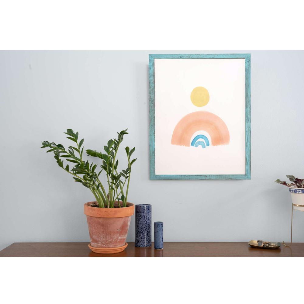 "24"" x 36"" Rustic Farmhouse Light Aqua Blue Wood Frame - 386552. Picture 3"