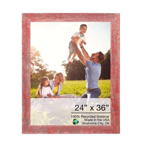 """24"""" x 36"""" Rustic Farmhouse Red Wood Frame - 386554. Picture 1"""