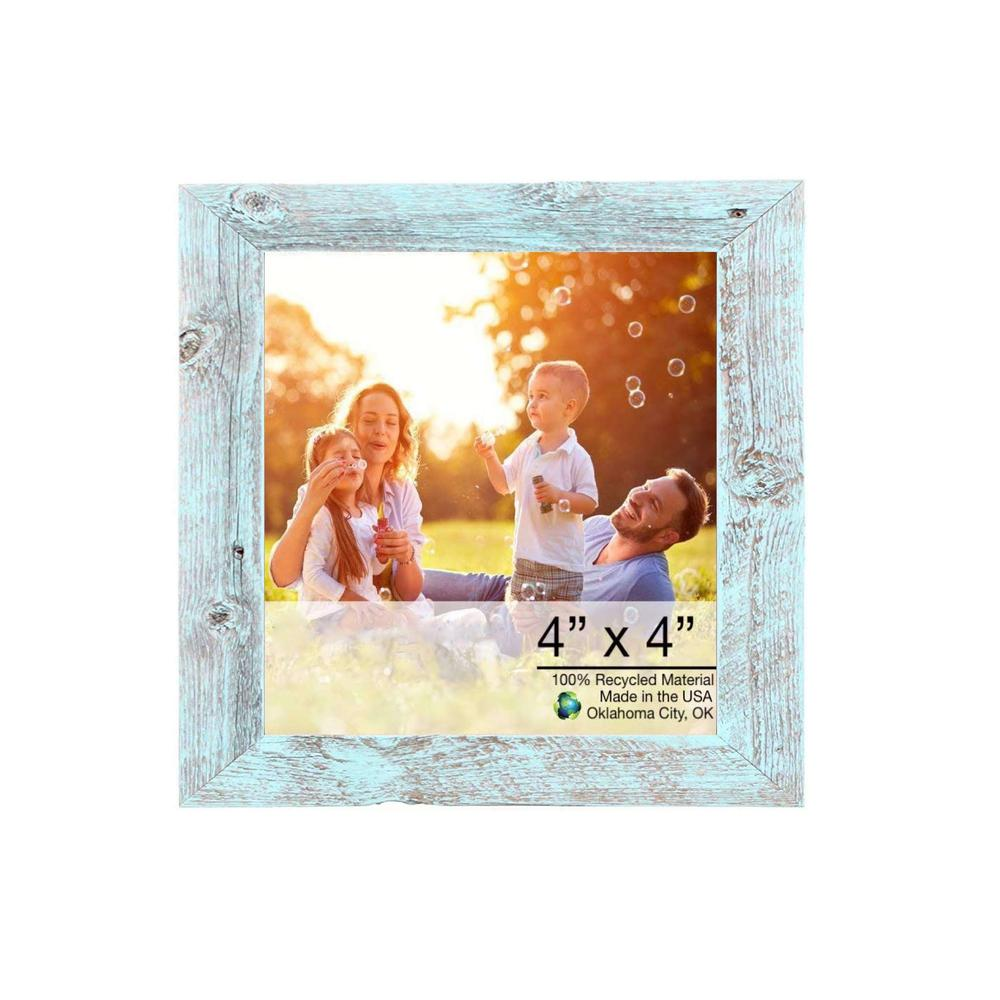 "4"" x 4"" Rustic Farmhouse Light Aqua Blue Wood Frame - 386556. Picture 1"