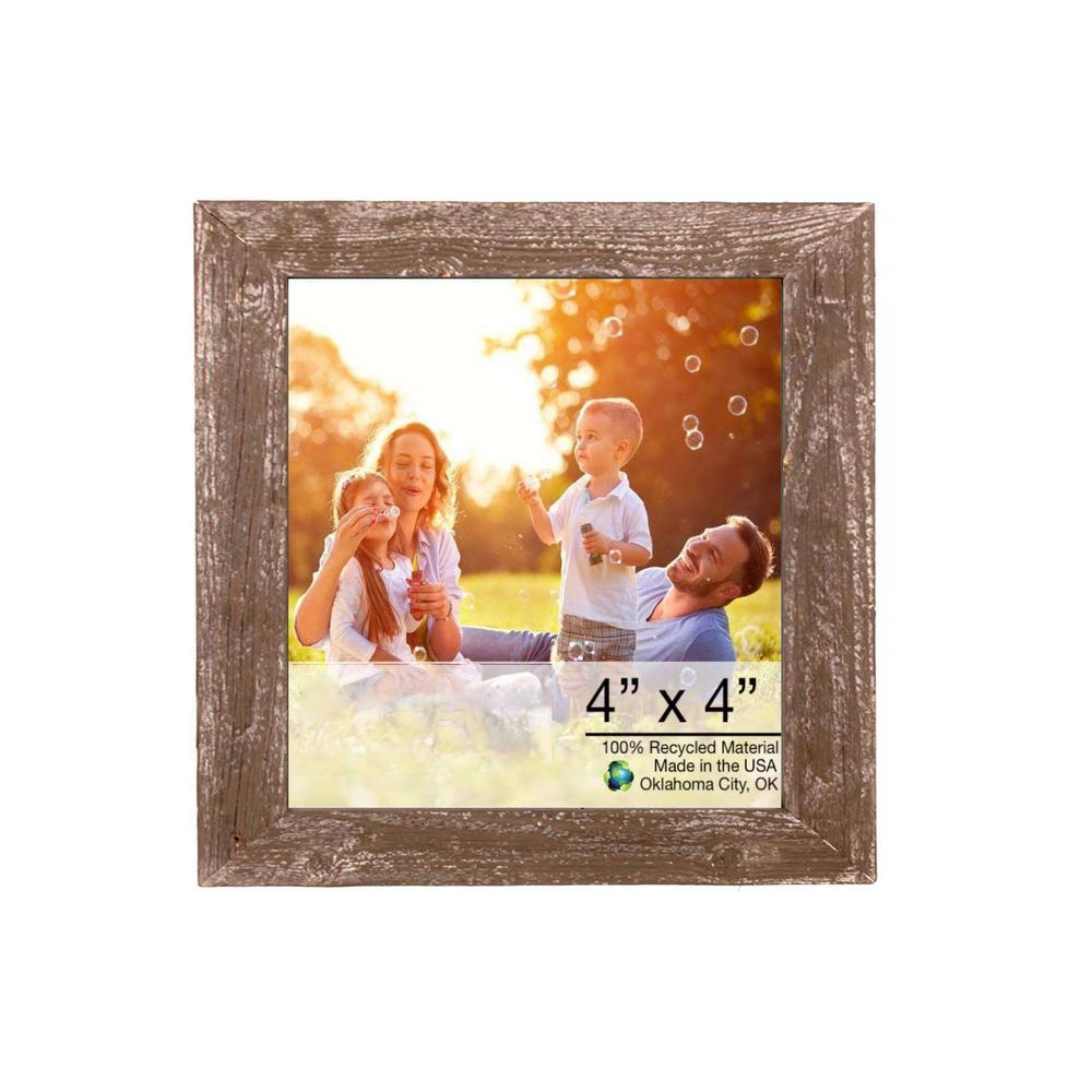 "4"" x 4"" Rustic Farmhouse Espresso Brown Wood Frame - 386557. Picture 1"
