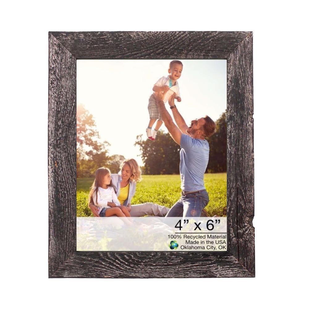 """4"""" x 6"""" Rustic Farmhouse Rustic Black Wood Frame - 386559. Picture 1"""