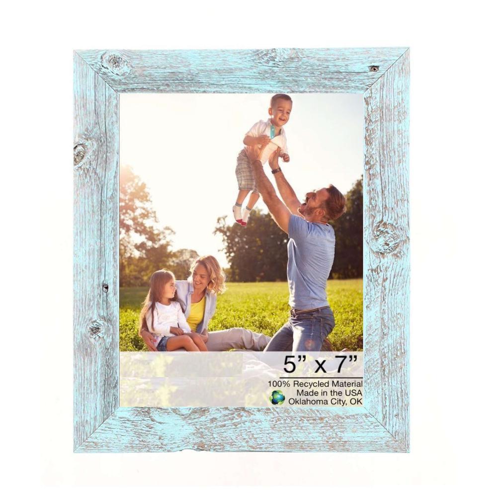 "5"" x 7"" Rustic Farmhouse Light Aqua Blue Wood Frame - 386564. Picture 1"