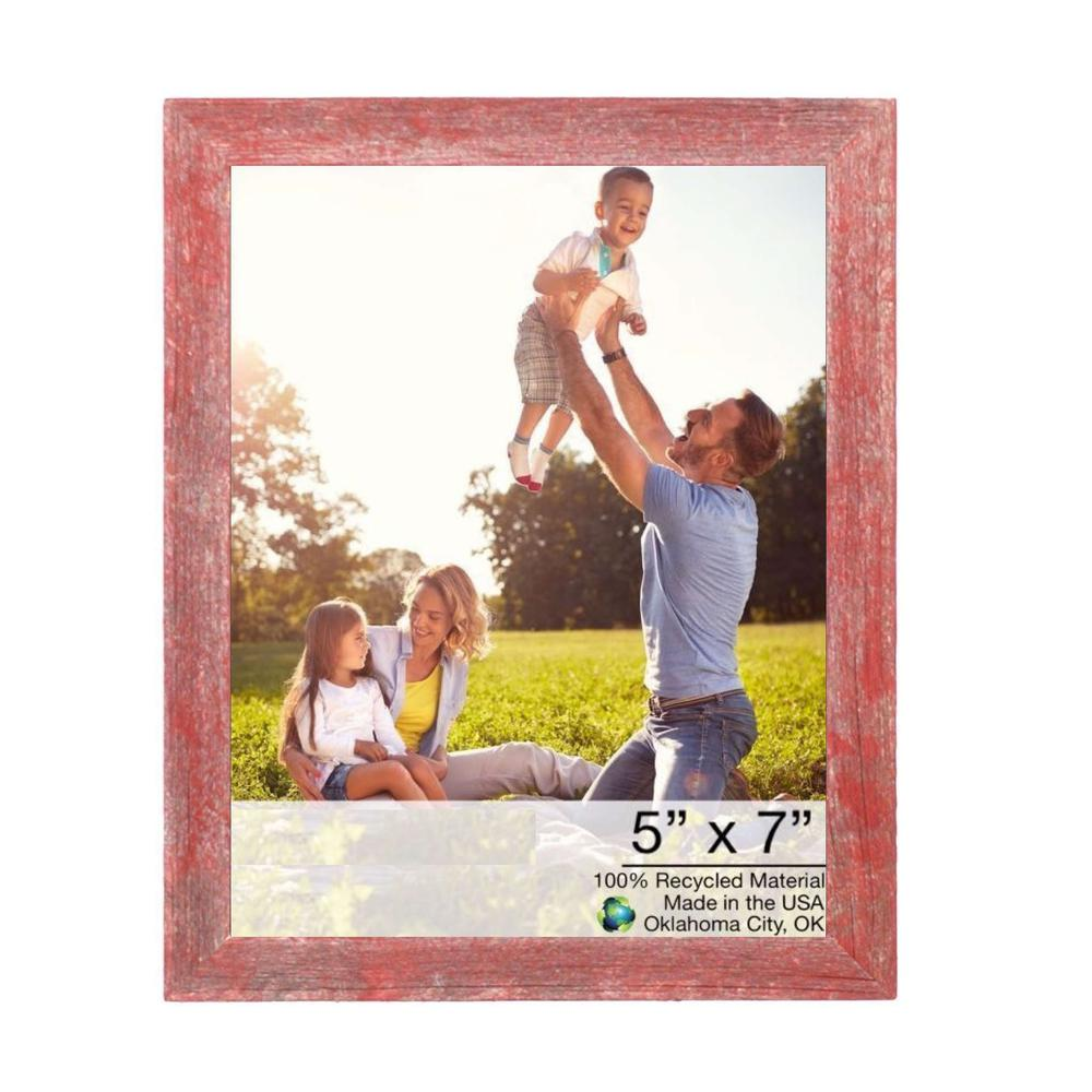 """5"""" x 7"""" Rustic Farmhouse Red Wood Frame - 386566. Picture 1"""