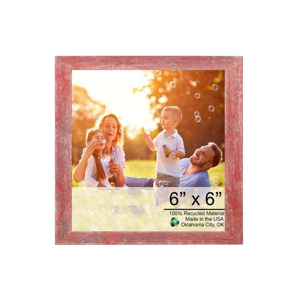 """6"""" x 6"""" Rustic Farmhouse Red Wood Frame - 386567. Picture 1"""