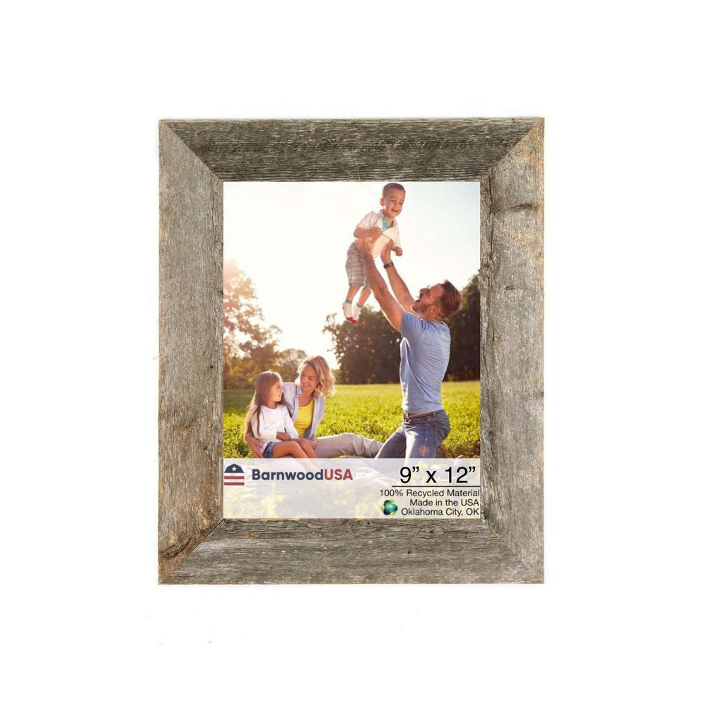 """9"""" x 12""""  Rustic Farmhouse Weathered Gray Wood Frame - 386575. Picture 1"""