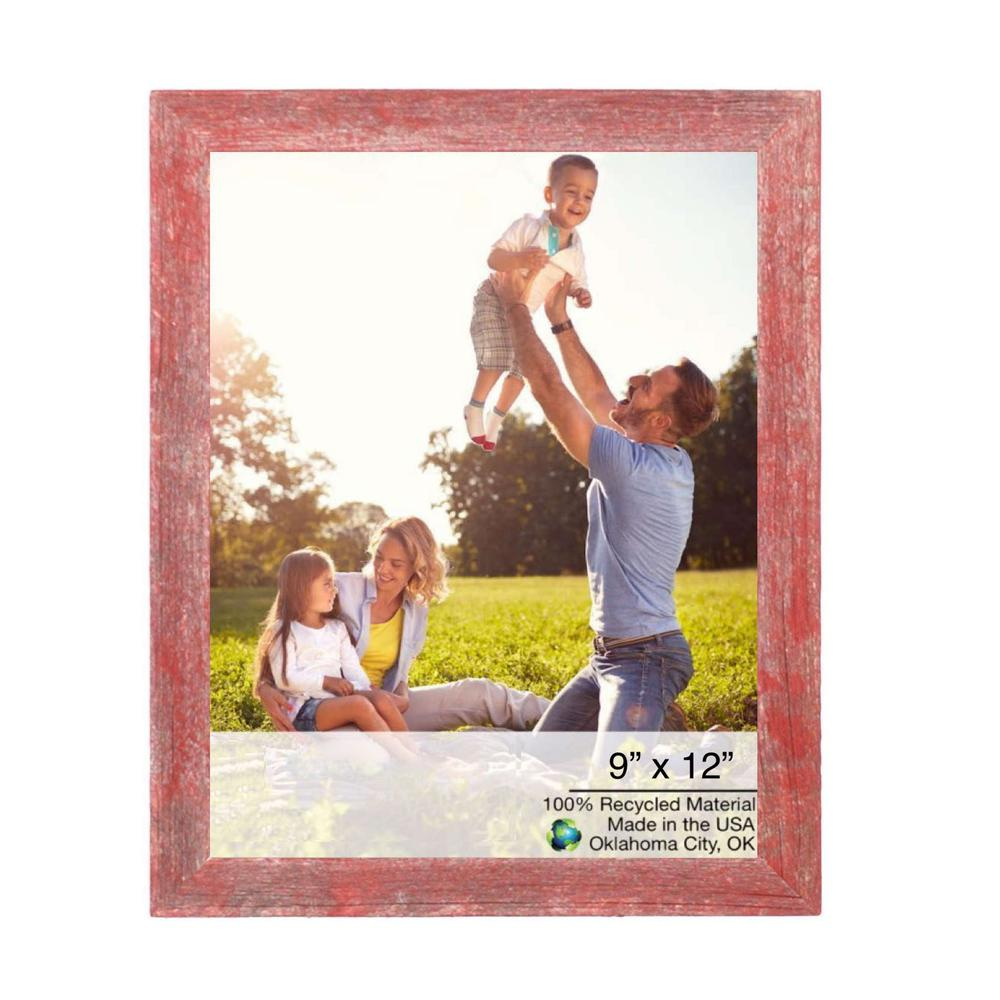 """9"""" x 12""""  Rustic Farmhouse Red Wood Frame - 386576. Picture 1"""
