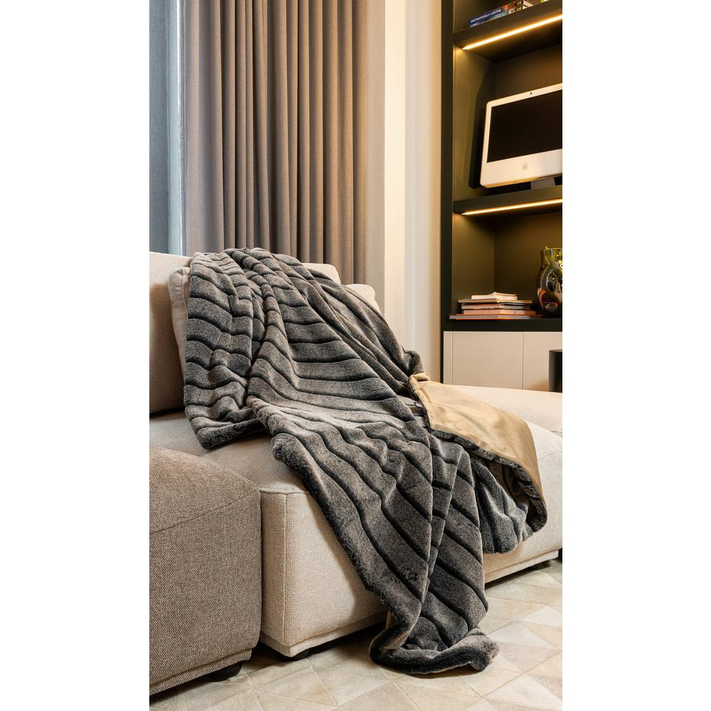 Premier Luxury Gray Stripe Faux Fur Throw Blanket - 386745. Picture 2