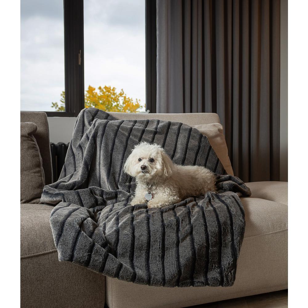 Premier Luxury Gray Stripe Faux Fur Throw Blanket - 386745. Picture 3