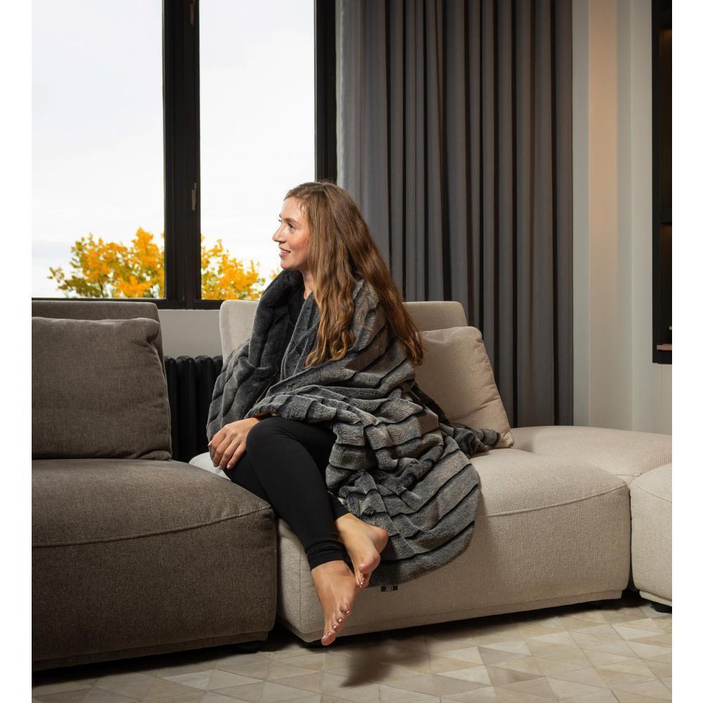 Premier Luxury Gray Stripe Faux Fur Throw Blanket - 386745. Picture 4