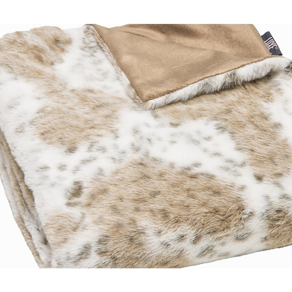 Premier Luxury Spotted White and Brown Faux Fur Throw Blanket - 386746. Picture 1