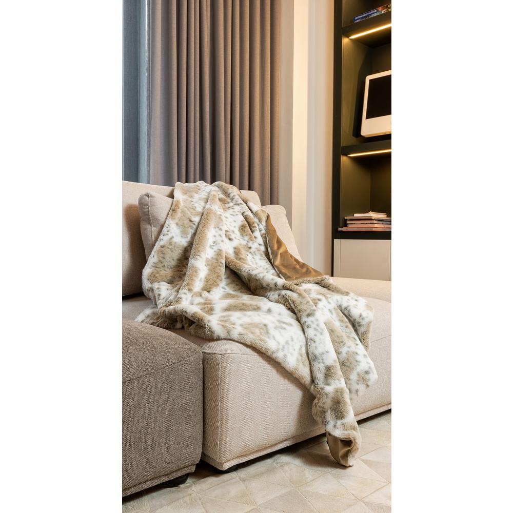 Premier Luxury Spotted White and Brown Faux Fur Throw Blanket - 386746. Picture 2