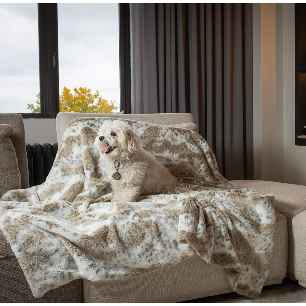 Premier Luxury Spotted White and Brown Faux Fur Throw Blanket - 386746. Picture 3