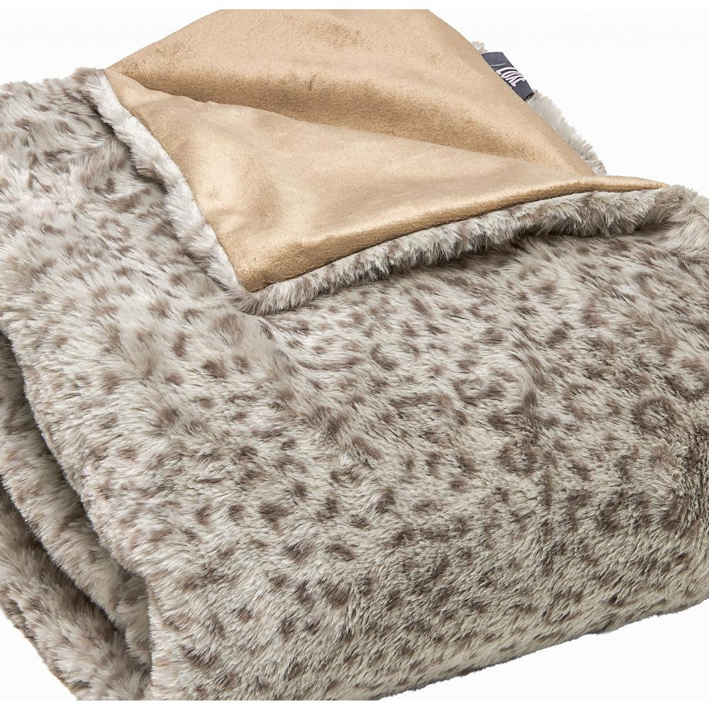Premier Luxury Spotted Taupe and Brown Faux Fur Throw Blanket - 386747. Picture 1