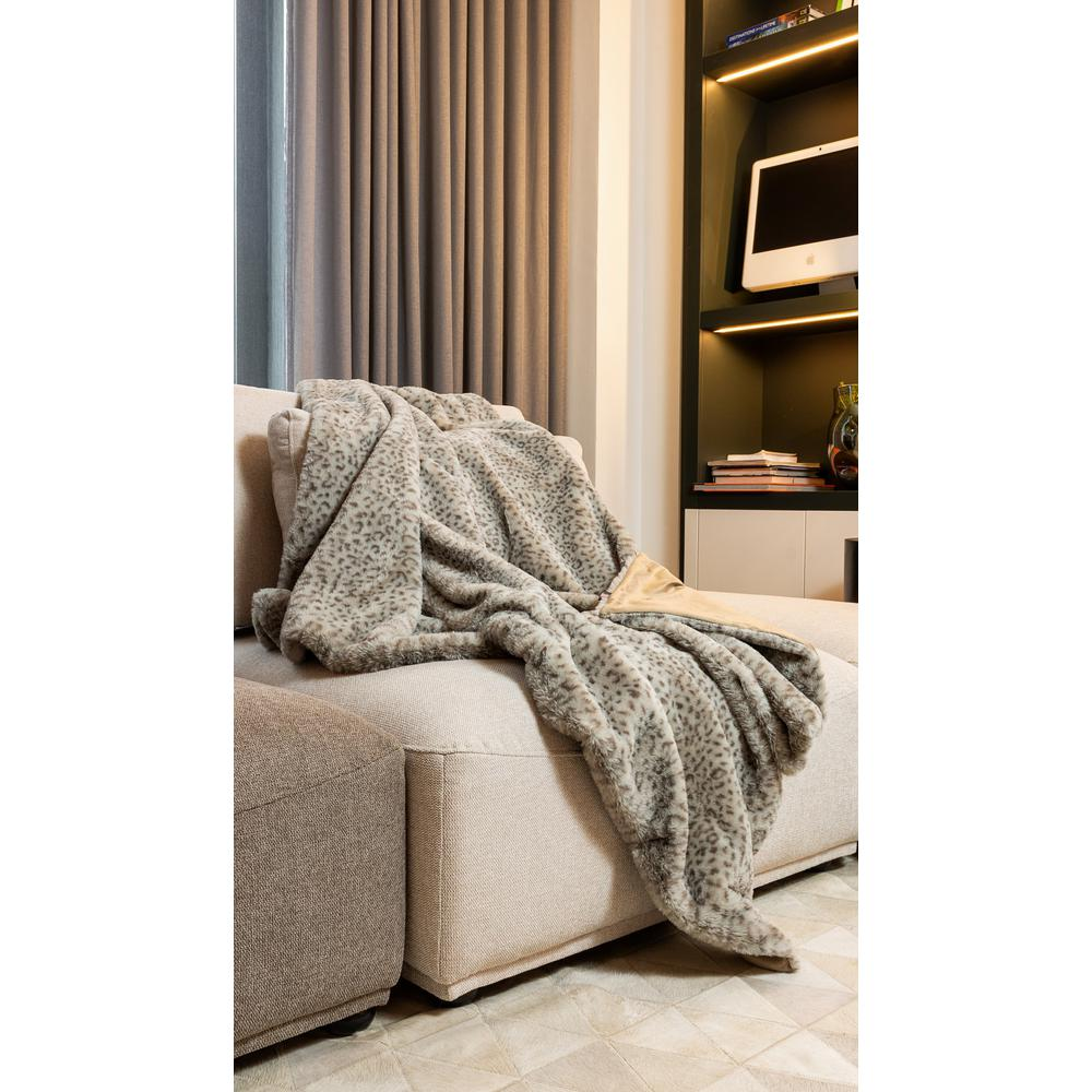 Premier Luxury Spotted Taupe and Brown Faux Fur Throw Blanket - 386747. Picture 2