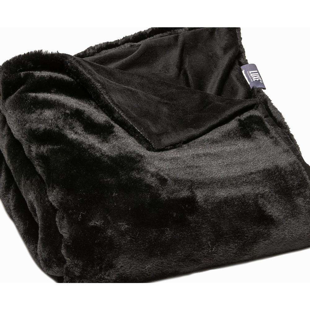 Premier Luxury Black Super Soft Faux Fur Throw Blanket - 386750. Picture 2