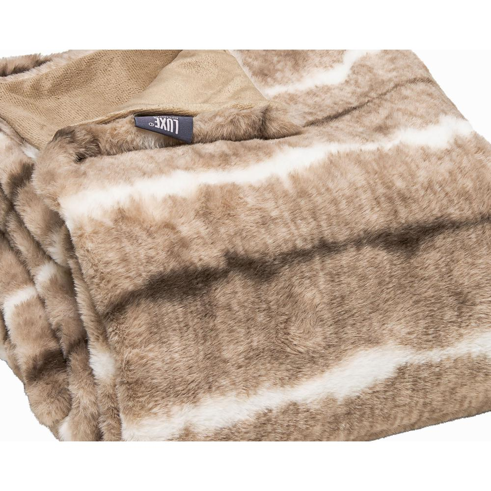 Premier Luxury Light Brown and White Faux Fur Throw Blanket - 386751. Picture 1
