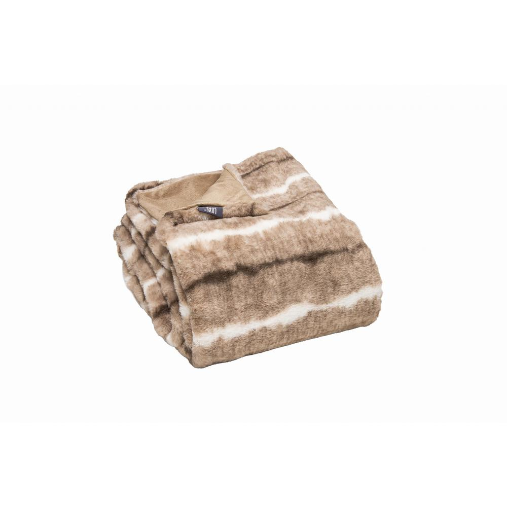 Premier Luxury Light Brown and White Faux Fur Throw Blanket - 386751. Picture 4