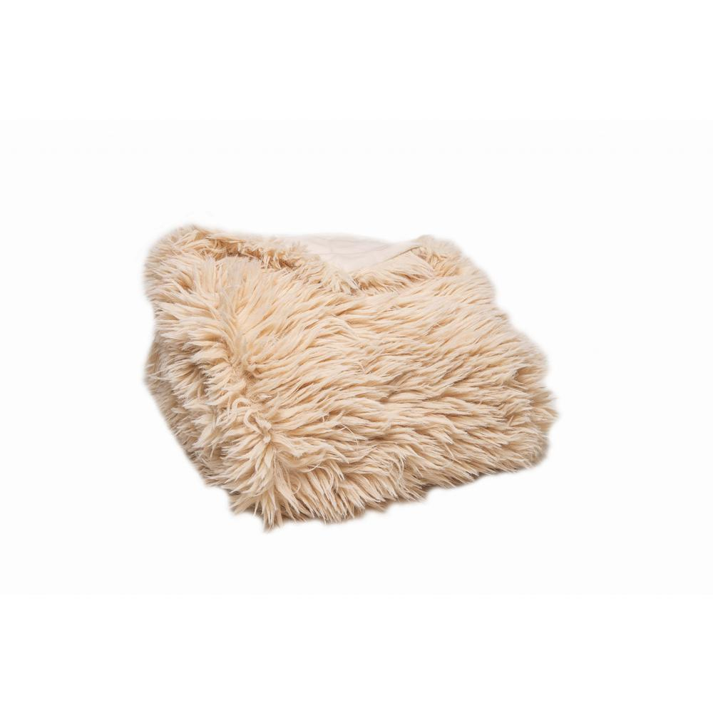 Chunky Flokati Faux Wool Off White Throw Blanket - 386752. Picture 1