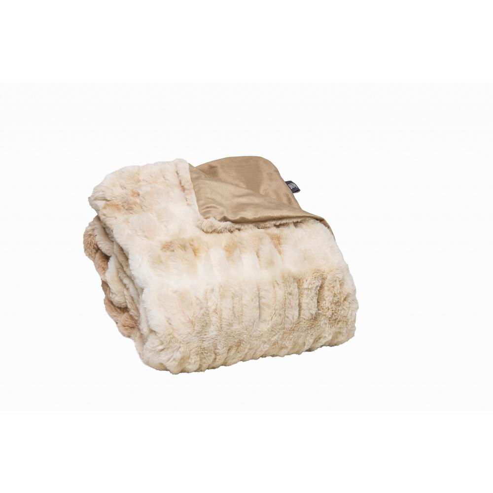 Chunky Sectioned Shades of Beige Faux Fur Throw Blanket - 386755. Picture 1