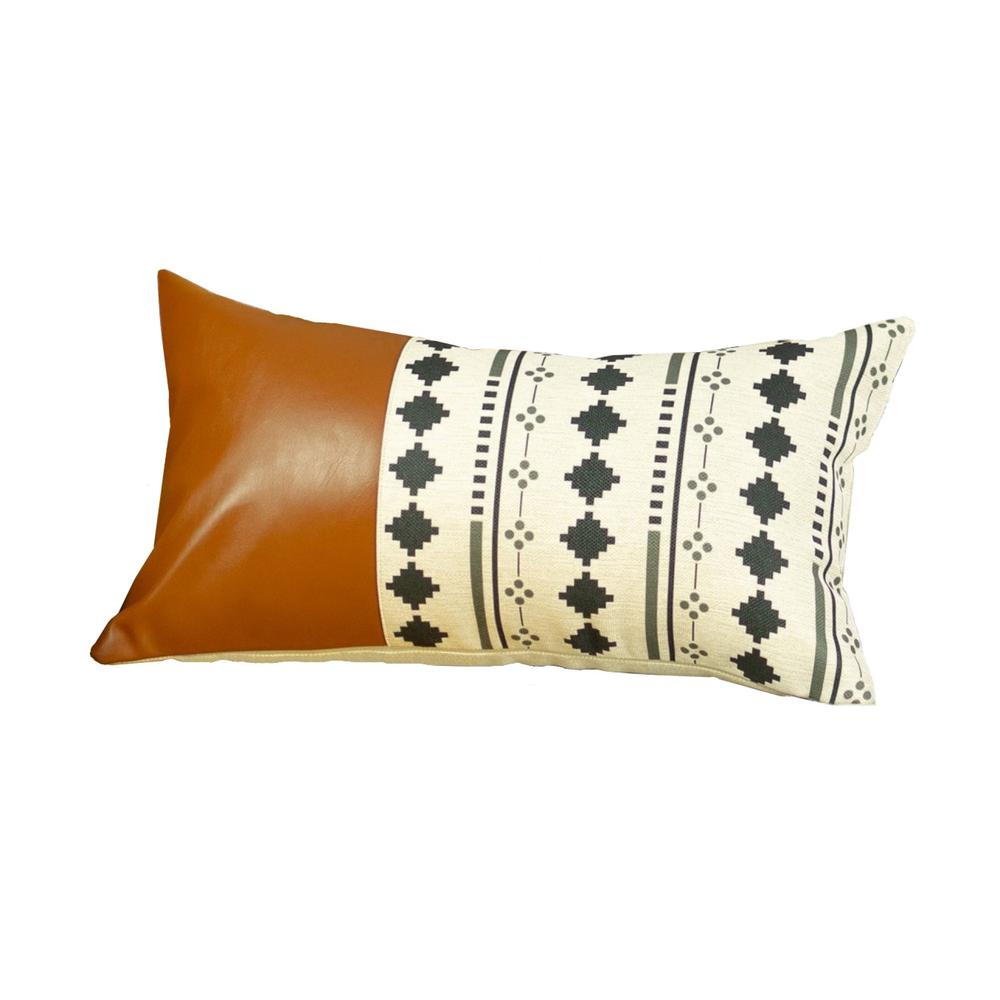 Geometric Patterns and Brown Faux Leather Lumbar Pillow Cover - 386777. Picture 1