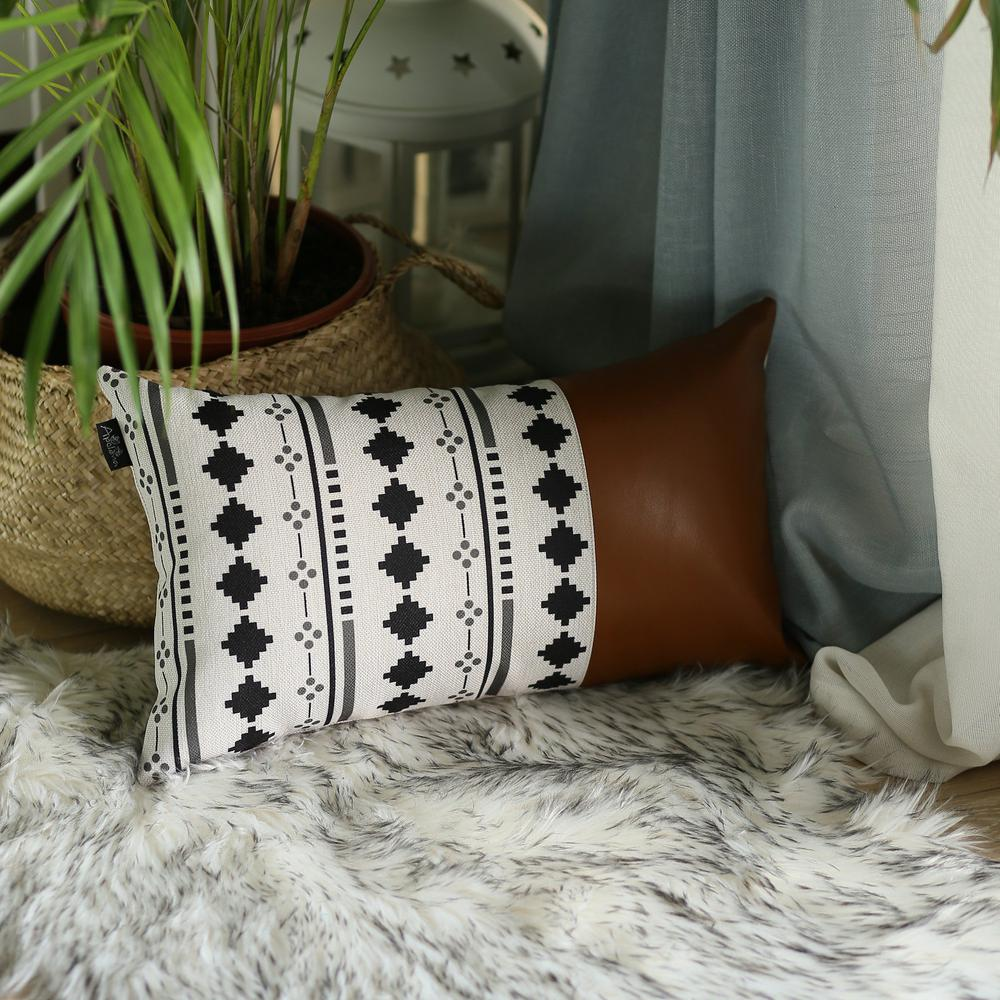 Geometric Patterns and Brown Faux Leather Lumbar Pillow Cover - 386777. Picture 3