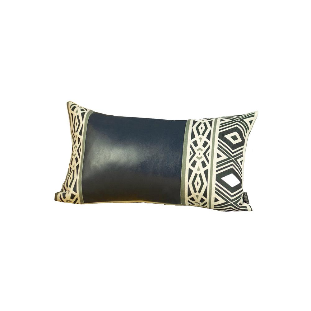 Rectangular Spruce Blue Faux Leather and Geometric Pattern Lumbar Pillow Cover - 386778. Picture 1