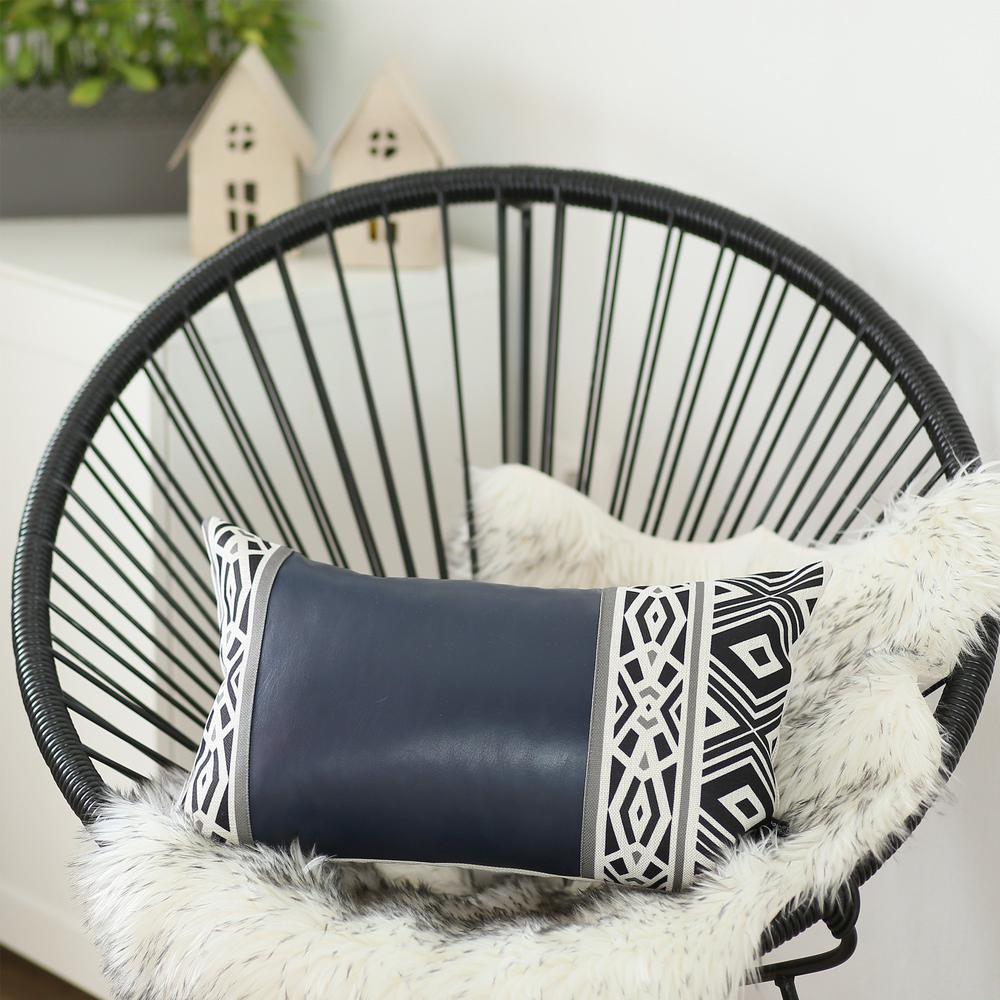 Rectangular Spruce Blue Faux Leather and Geometric Pattern Lumbar Pillow Cover - 386778. Picture 2