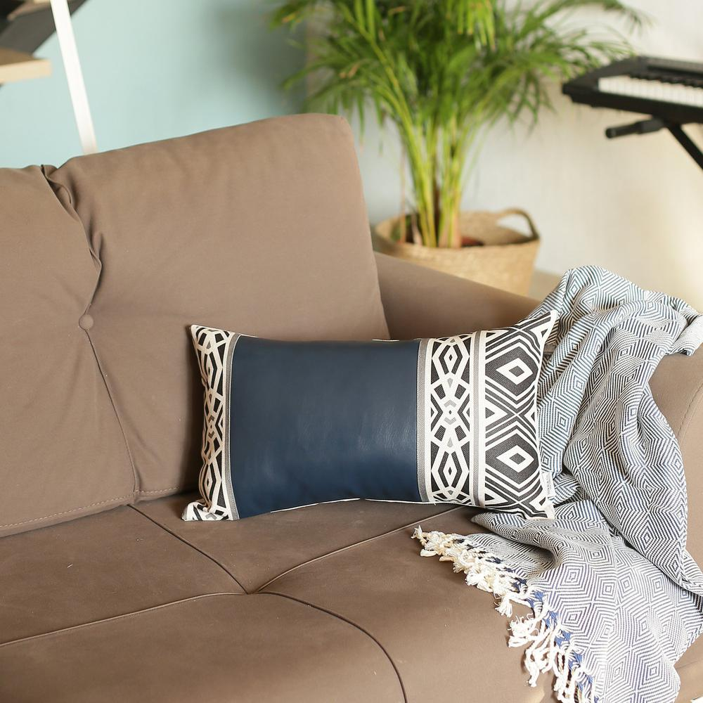 Rectangular Spruce Blue Faux Leather and Geometric Pattern Lumbar Pillow Cover - 386778. Picture 3