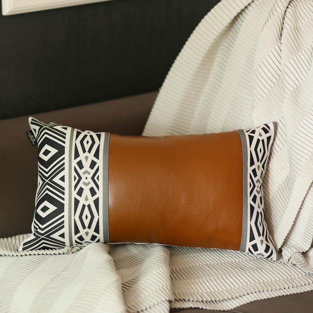 Rectangular Rustic Brown Faux Leather and Geometric Patterns Lumbar Pillow Cover - 386779. Picture 1