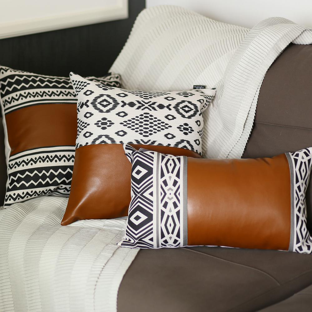 Rectangular Rustic Brown Faux Leather and Geometric Patterns Lumbar Pillow Cover - 386779. Picture 2