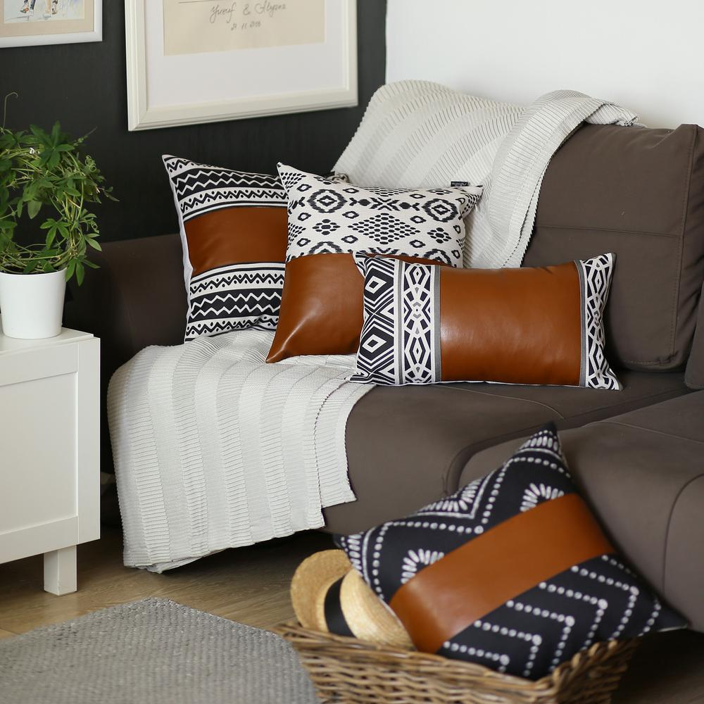Rectangular Rustic Brown Faux Leather and Geometric Patterns Lumbar Pillow Cover - 386779. Picture 3