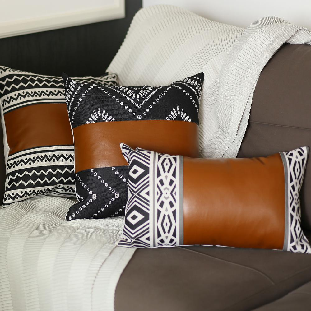 Rectangular Rustic Brown Faux Leather and Geometric Patterns Lumbar Pillow Cover - 386779. Picture 4