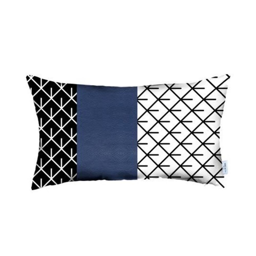 Rectangular Bohemian Lattice Pattern and Navy Blue Faux Leather Lumbar Pillow Cover - 386780. Picture 1
