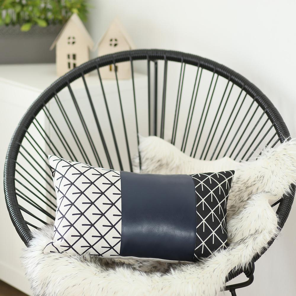 Rectangular Bohemian Lattice Pattern and Navy Blue Faux Leather Lumbar Pillow Cover - 386780. Picture 2