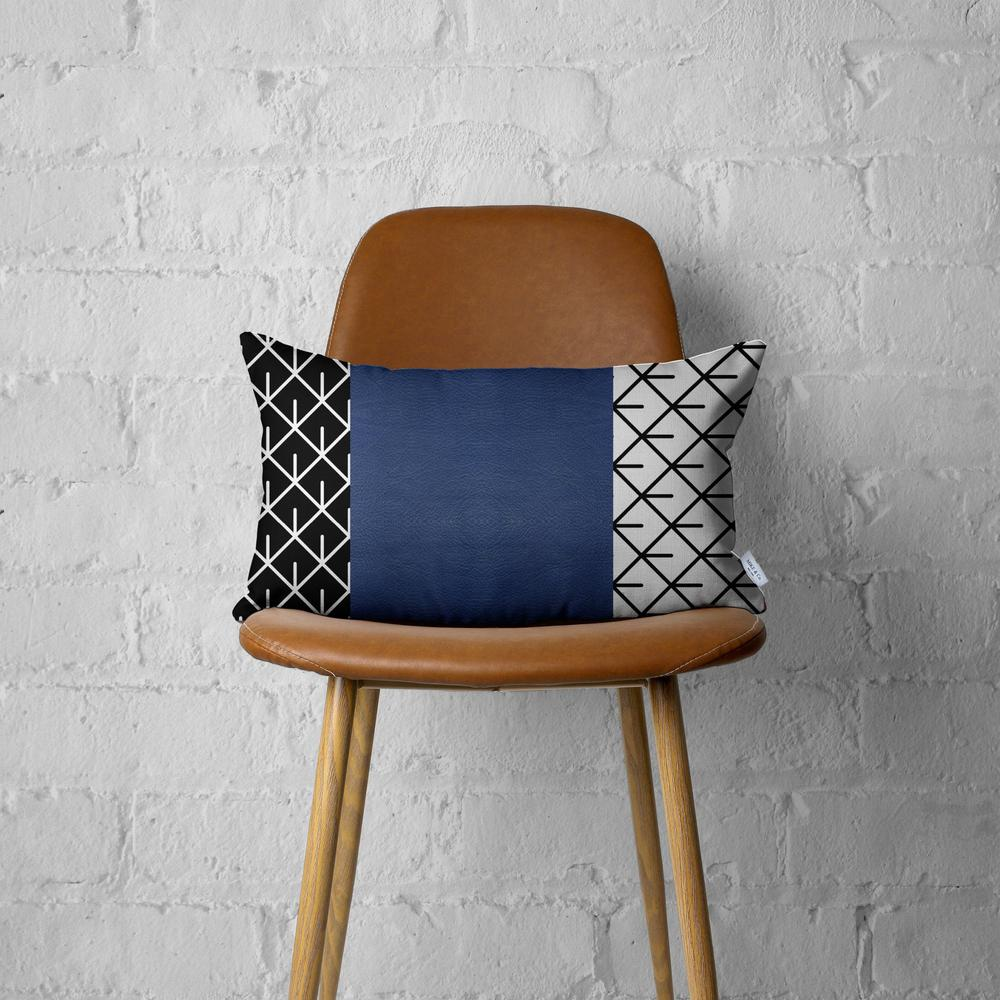 Rectangular Bohemian Lattice Pattern and Navy Blue Faux Leather Lumbar Pillow Cover - 386780. Picture 3