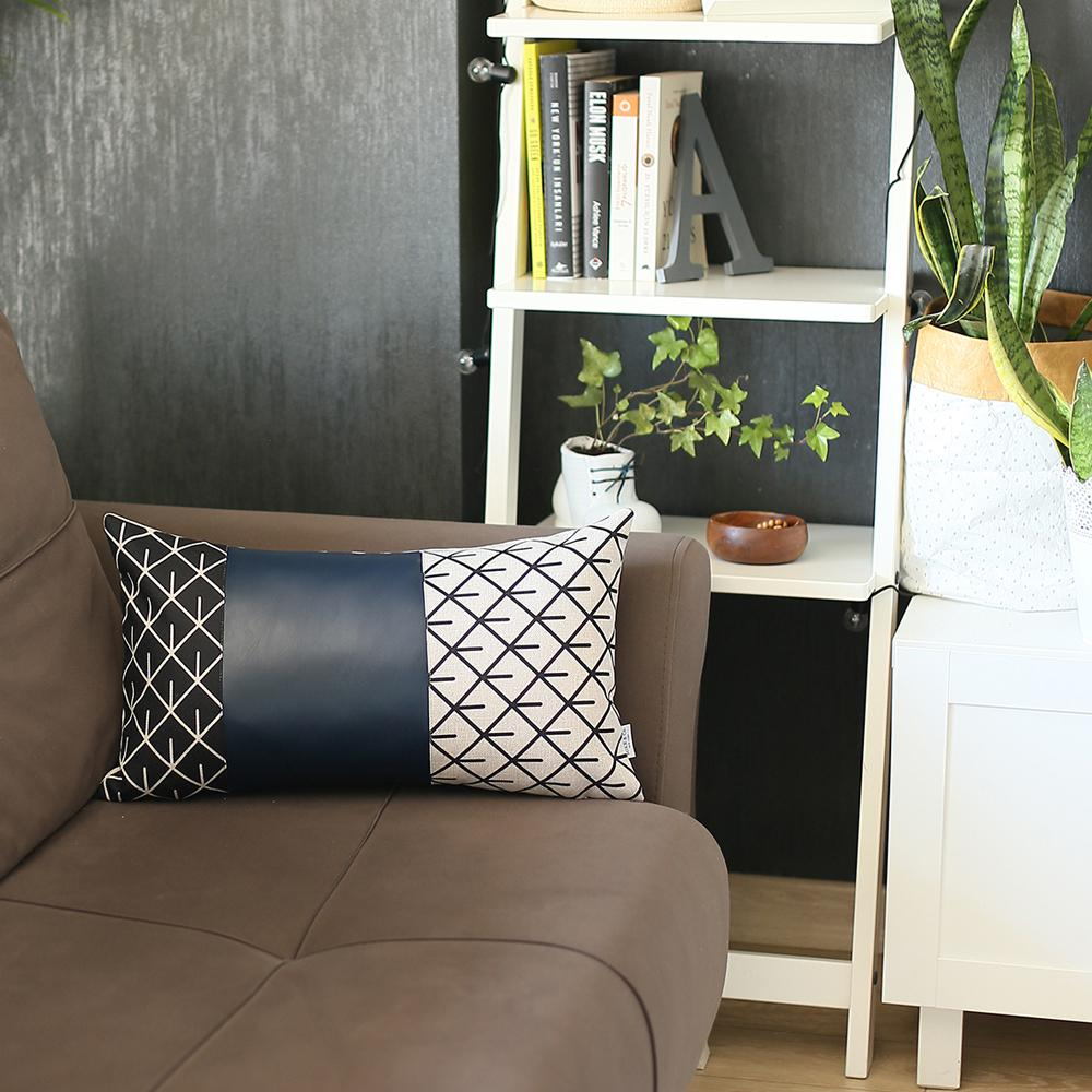 Rectangular Bohemian Lattice Pattern and Navy Blue Faux Leather Lumbar Pillow Cover - 386780. Picture 4