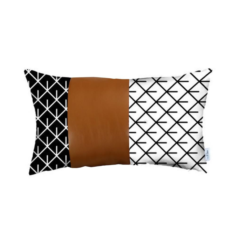 Reverse Black and White and Brown Faux Leather Lumbar Pillow Cover - 386781. Picture 1